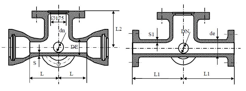 Крест раструб-фланец с пожарной подставкой схема