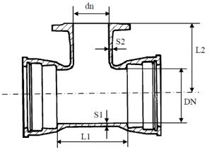 Тройник раструб-фланец схема