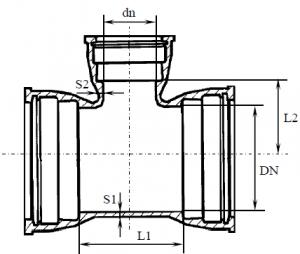 Тройник раструбный литой ВЧШГ схема